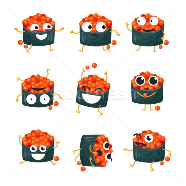 Drôle sushis rouge caviar vecteur isolé Photo stock © Decorwithme