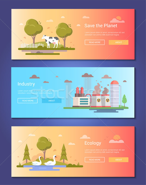 Save the planet - set of modern flat design style vector illustrations Stock photo © Decorwithme