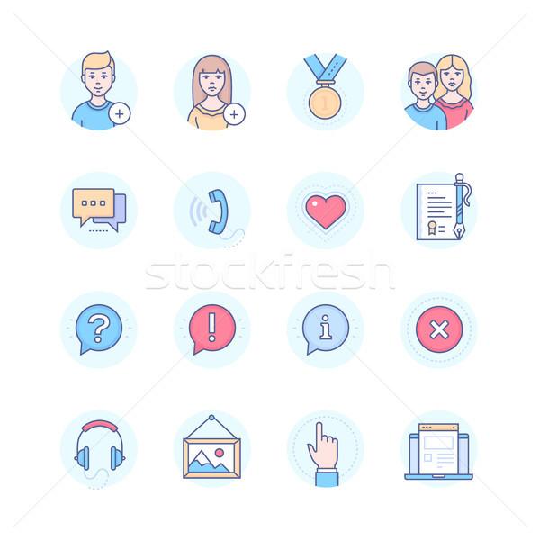 Social media - modern line design style icons set Stock photo © Decorwithme