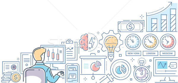 Stock exchange - modern line design style colorful illustration Stock photo © Decorwithme