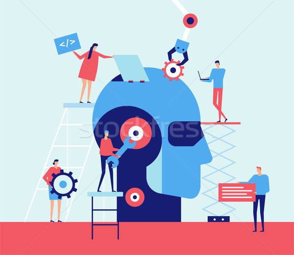 Stock photo: Artificial intelligence - flat design style illustration