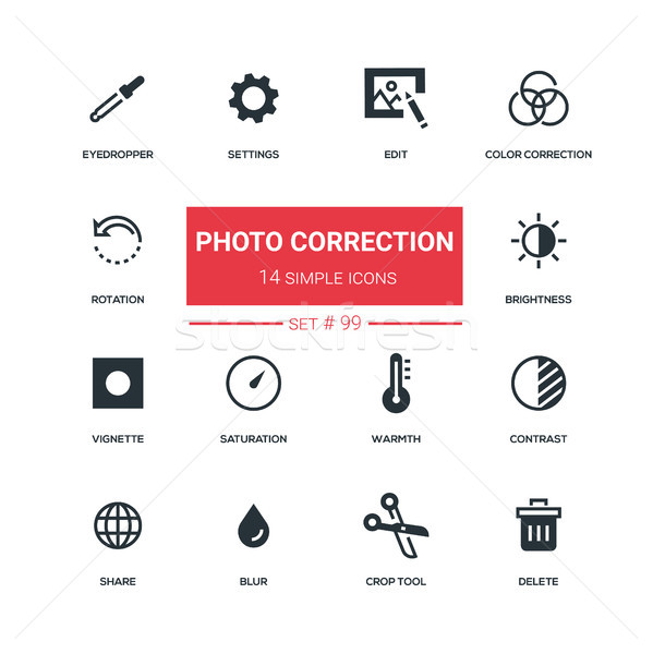 Photo correction - flat design style icons set Stock photo © Decorwithme