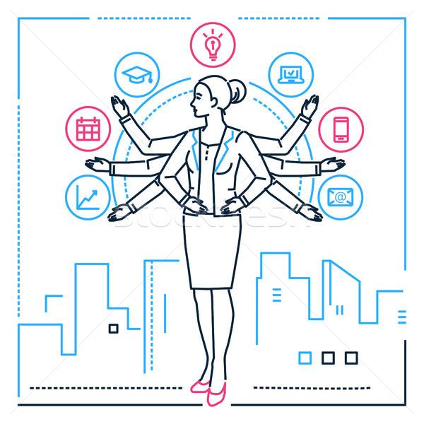 Multitasking - line design style illustration Stock photo © Decorwithme
