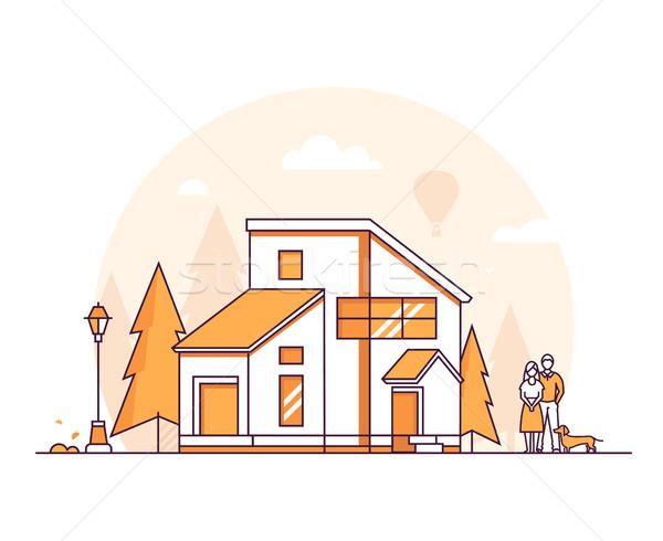 Chalet maison léger ligne design style Photo stock © Decorwithme