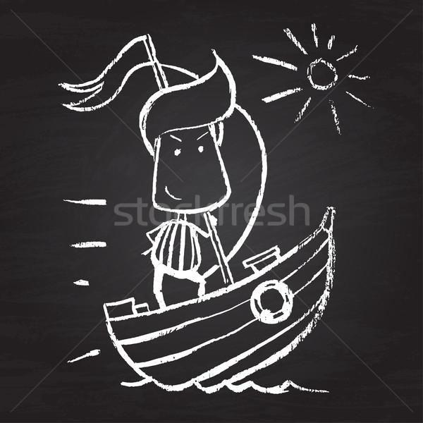 Illustratie karakter grappig Blackboard man achtergrond Stockfoto © Decorwithme