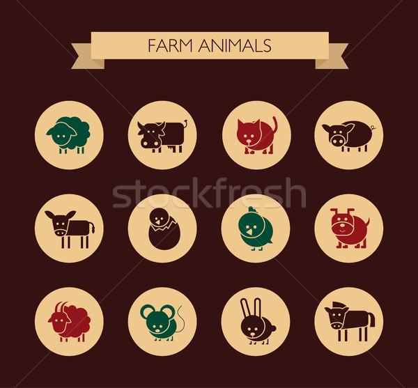 набор дизайна иконки сельскохозяйственных животных вектора собака Сток-фото © Decorwithme