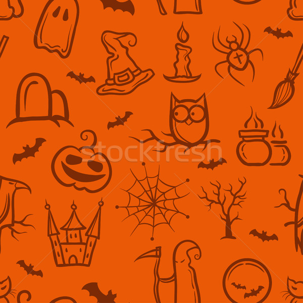 Illustration of retro graphical Halloween pattern Stock photo © Decorwithme
