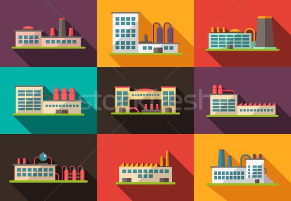 Szett terv ipari épületek piktogramok vektor Stock fotó © Decorwithme