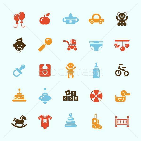 Set of flat design cute baby icons Stock photo © Decorwithme