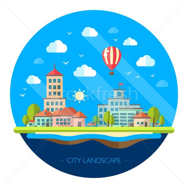 Stockfoto: Illustratie · ontwerp · stedelijke · landschap · vector · boom
