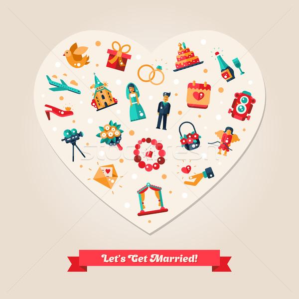 Ontwerp bruiloft huwelijk voorstel hart briefkaart Stockfoto © Decorwithme