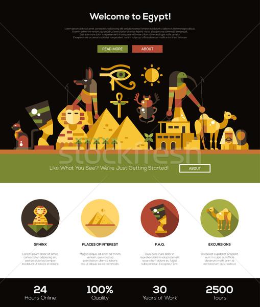 Utazó Egyiptom weboldal fejléc szalag webdesign Stock fotó © Decorwithme