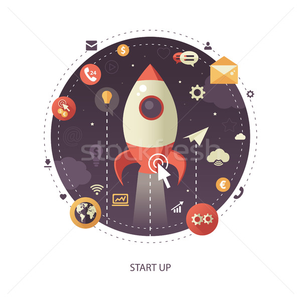 Start up flat design business infographics illustration, composition Stock photo © Decorwithme