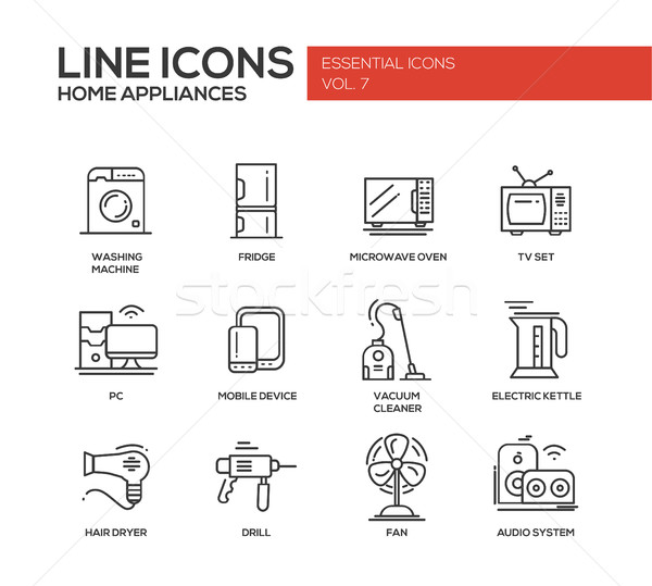 Home Appliances - simple line design icons set Stock photo © Decorwithme