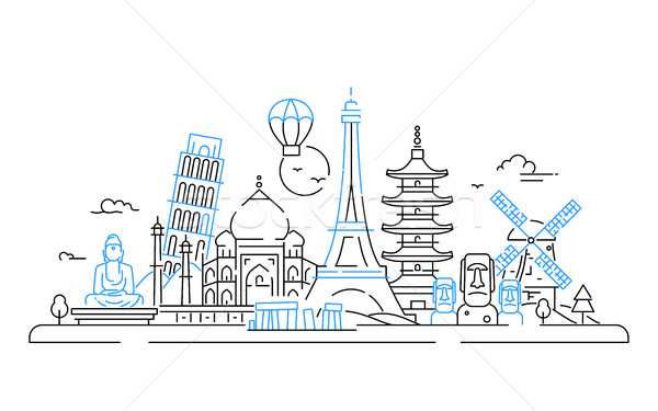 Countries - vector line travel illustration Stock photo © Decorwithme