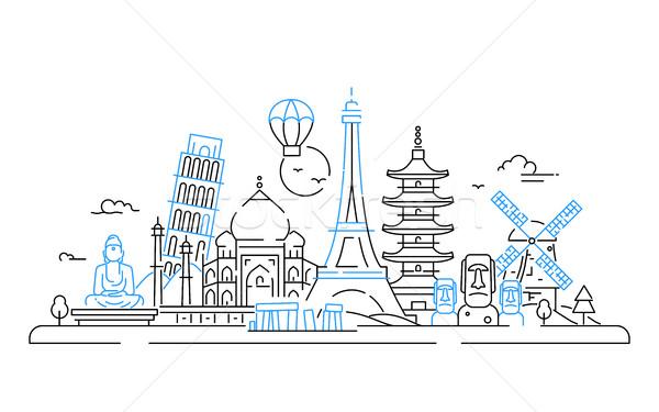 Países vector línea viaje ilustración moderna Foto stock © Decorwithme