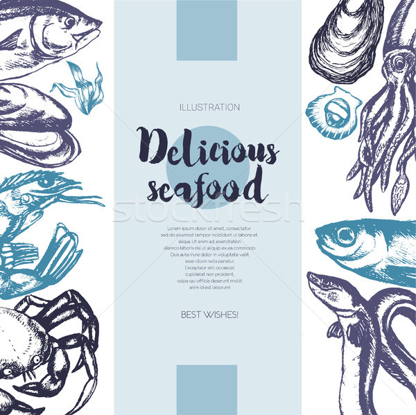 Delicious Seafood - color drawn vintage banner template. Stock photo © Decorwithme