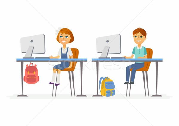 Stockfoto: Computer · moderne · gelukkig · weinig · werken