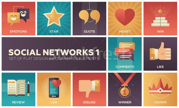 Sosyal ağlar modern ayarlamak dizayn infographics elemanları Stok fotoğraf © Decorwithme