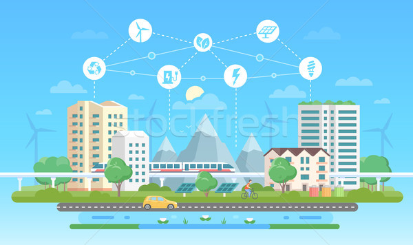 Eco-friendly city - modern flat design style vector illustration Stock photo © Decorwithme