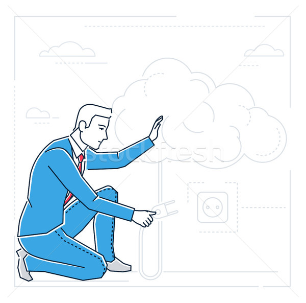 Businessman searching for ideas - line design style isolated illustration Stock photo © Decorwithme