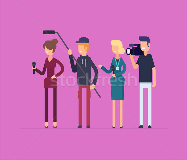 Television crew at work - modern flat design style isolated illustration Stock photo © Decorwithme