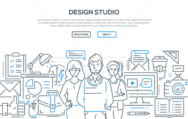 Design studio - modern line design style illustration Stock photo © Decorwithme