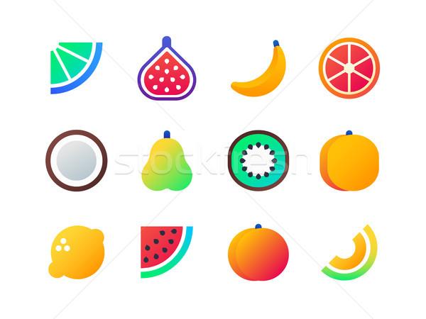 Stock photo: Fruits - set of flat design style icons