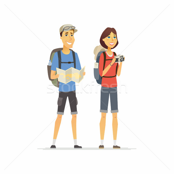 Fiatal pér vakáció rajzolt emberek karakter izolált illusztráció Stock fotó © Decorwithme
