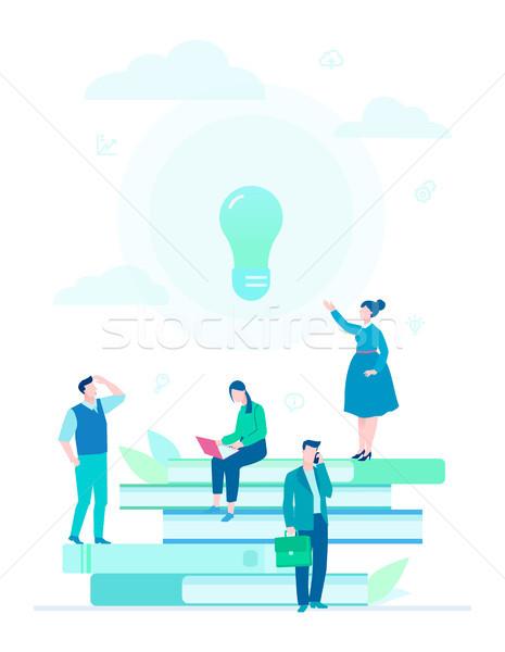 Bright idea - flat design style colorful illustration Stock photo © Decorwithme