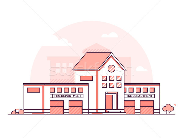 Fire department - modern thin line design style vector illustration Stock photo © Decorwithme