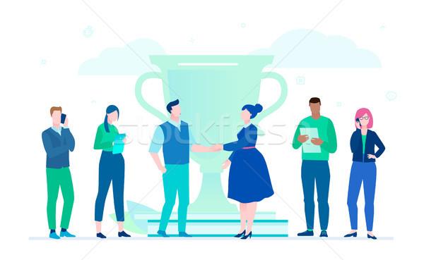 Negócio vitória projeto estilo ilustração branco Foto stock © Decorwithme