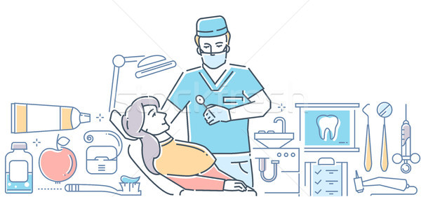 Dentist at work - modern colorful line design style illustration Stock photo © Decorwithme