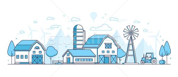 Organic farming - thin line design style vector illustration Stock photo © Decorwithme
