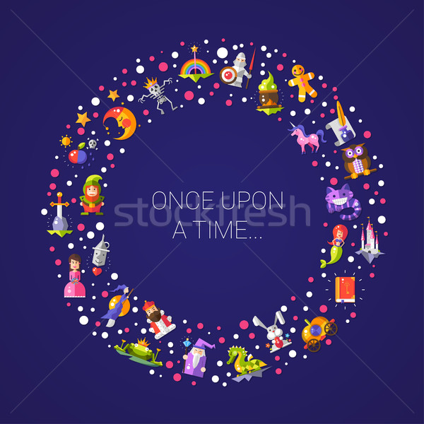 Stock photo: Illustration of postcard with fairy tales flat design magic icon