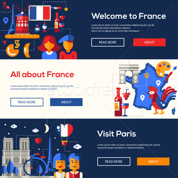 France travel banners set with famous French symbols  Stock photo © Decorwithme