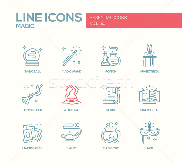 Magic - line design icons set Stock photo © Decorwithme