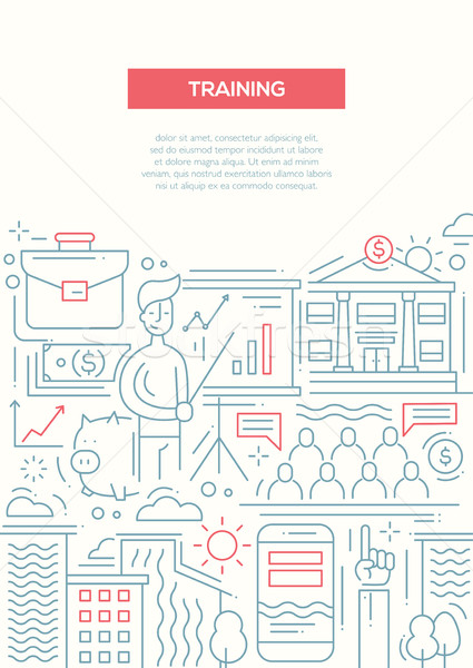 Negócio treinamento linha projeto folheto cartaz Foto stock © Decorwithme