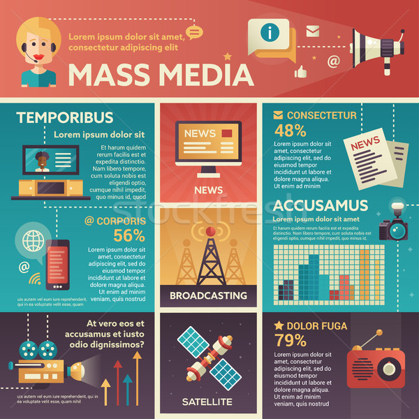 Mass Media - poster, brochure cover template Stock photo © Decorwithme