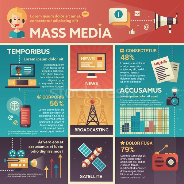 Masse médias affiche brochure couvrir modèle Photo stock © Decorwithme