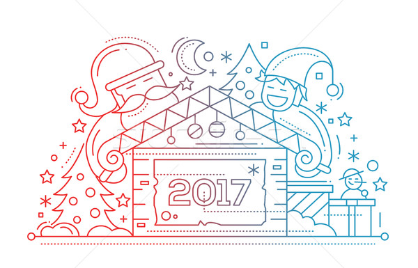 Merry Christmas and Happy New Year - line design card Stock photo © Decorwithme
