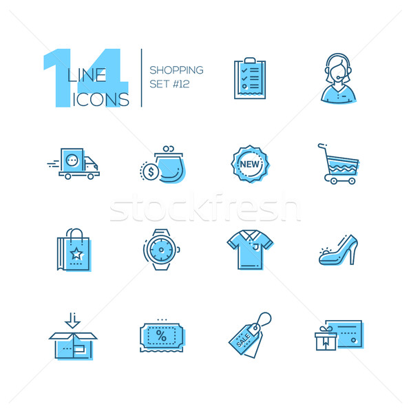 Shopping - line icons set Stock photo © Decorwithme