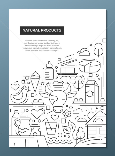 Natural Products - line design brochure poster template A4 Stock photo © Decorwithme