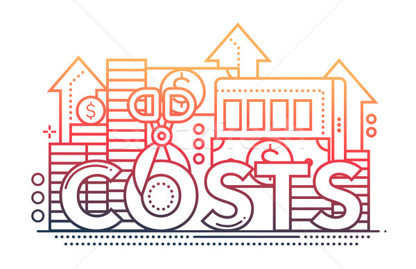 Reduce Costs - flat line design website banner Stock photo © Decorwithme
