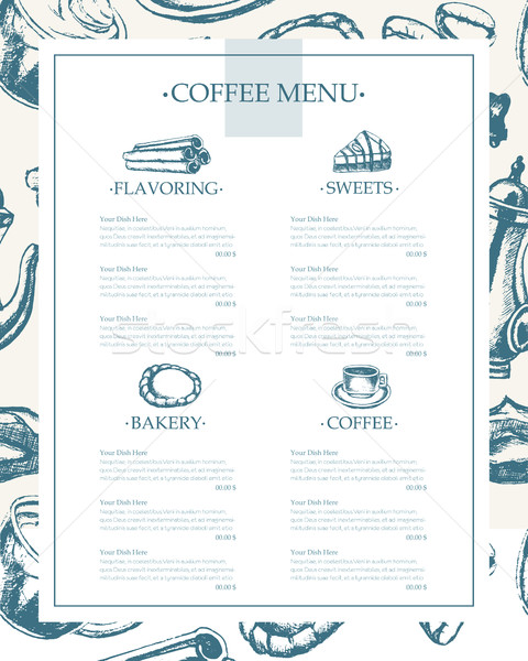 Delicious Coffee - monochromatic hand drawn template menu Stock photo © Decorwithme