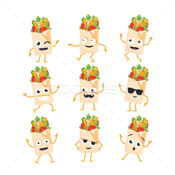 Shawarma - vector set of mascot illustrations. Stock photo © Decorwithme
