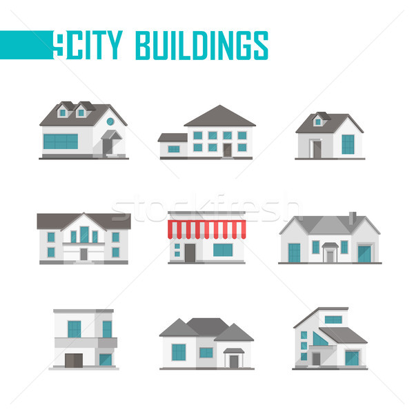 Nine low-storey city buildings set of icons - vector illustration Stock photo © Decorwithme