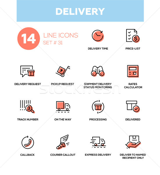Delivery - modern vector single line icons set Stock photo © Decorwithme