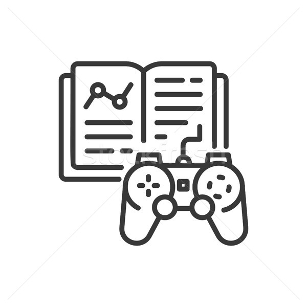 Learning game - line design single isolated icon Stock photo © Decorwithme