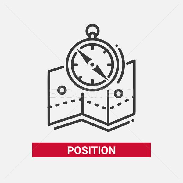 Posición línea diseno aislado icono blanco Foto stock © Decorwithme